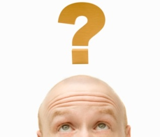 Bald head and question mark